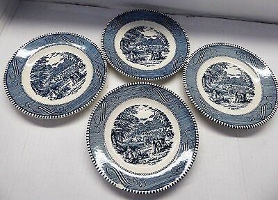 """4-Courier and Ives """"Harvest"""" saucers"""
