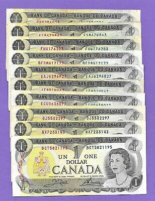 1973 Canada $1.00-One Dollar Circulated Bank Notes-Lot Of Ten!!