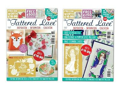 BRAND NEW Tattered Lace Magazines Issue 34 & 46 CLEARANCE *FREE DIES & FREE P&P!