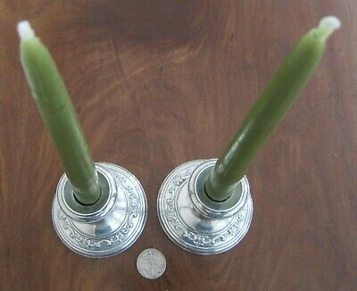 """Gorham Sterling Silver Candle Holders (Pair), """"Strasbourg"""" (1129), Filled, 4"""""""