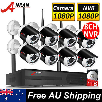 ANRAN CCTV Wireless Security Camera System Outdoor IP WIFI 1080P 8CH NVR 1TB HDD