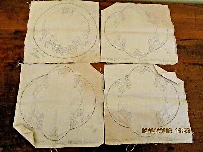 ~4 x VINTAGE DOILIES TO EMBROIDER - LINEN - NEW & UNUSED READY TO COMPLETE~