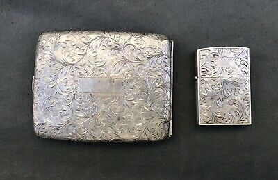 Ornate Vintage 950 STERLING SILVER Cigarette Case And Matching Lighter No Mono