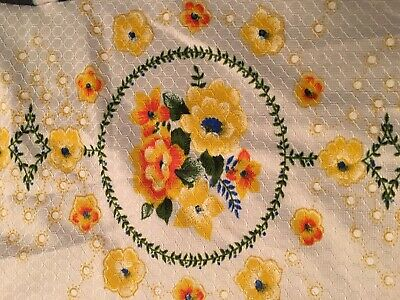 VINTAGE TABLECLOTH  Yellow Orange Flowers Picnic Fall Autumn 87x57 Floral Bright