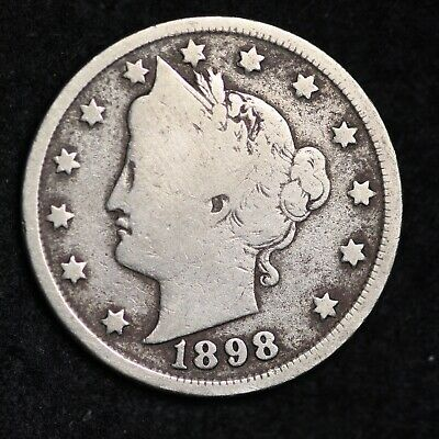 Fine Visible 1898 Liberty V Nickel With Cents Free Shipping