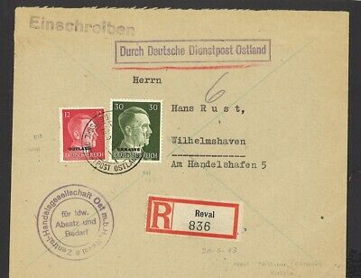 Germany Ostland Occup Registered Cover 1943 Reval Estonia to Germany WWII