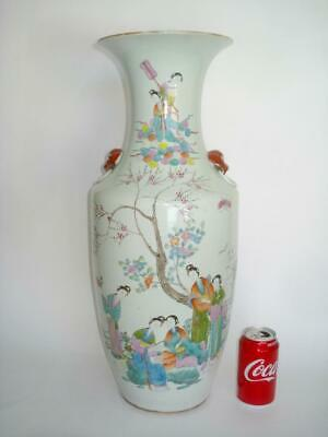 Fine Large Antique Chinese Porcelain Famille Rose Qianjiang Vase Republic Signed
