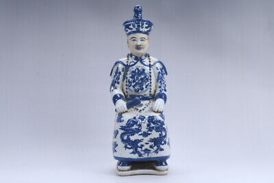 Collection Chinese hand carving Blue and white porcelain Minister statue  aa406