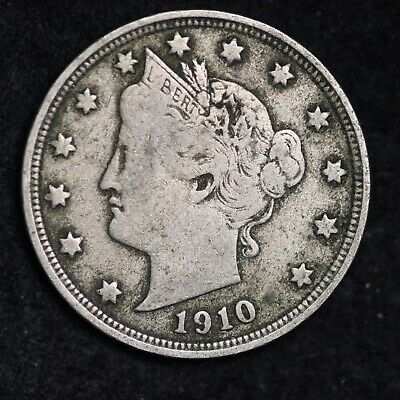Xf Full Liberty 1910 Liberty V Nickel With Cents Free Shipping