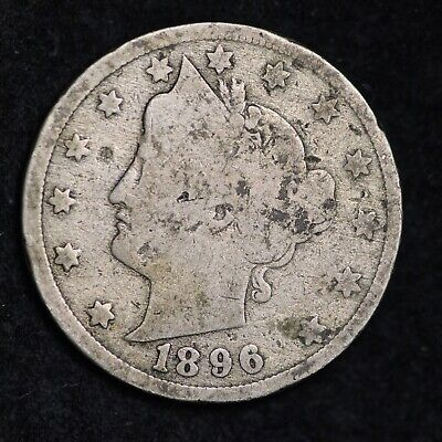 Vg 1896 Liberty V Nickel With Cents Free Shipping