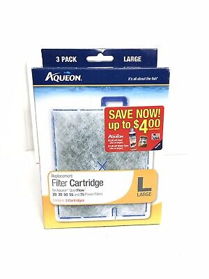 Aqueon Replacement Cartridge Large Lg 3 Pack QuitFlow filter For 20,30,50,55,75