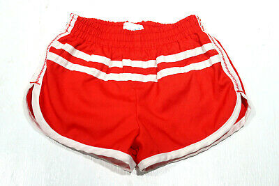 vintage 80s CARTERS RED TODDLER RUNNING RUN SHORTS WHITE PIPING SIZE 2T