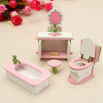 Retro Doll House Miniature Bathroom Wooden Furniture Set Kids Pretend Play Toys