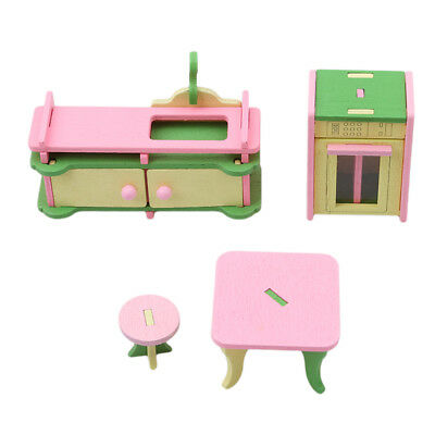Retro Doll House Miniature Kitchen Wooden Furniture Set Kids Pretend Play Toys