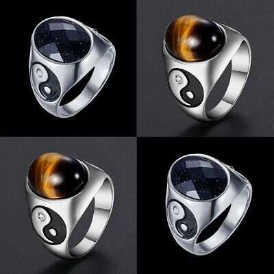 Mens Tiger Eye Stone Ring 316L Stainless Steel Vintage Finger Rings Band Jewelry