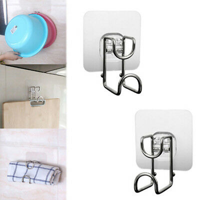 Adhesive Wall Mount Washbasin Hook Towel Rack Stand Cooking Tool Holder Bathroom
