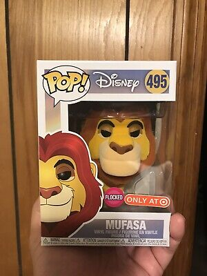 FUNKO POP DISNEY THE LION KING MUFASA 495 FLOCKED TARGET EXCLUSIVE W/ Protector