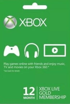 Xbox 360/One Live 12 Month Gold Membership Card Code