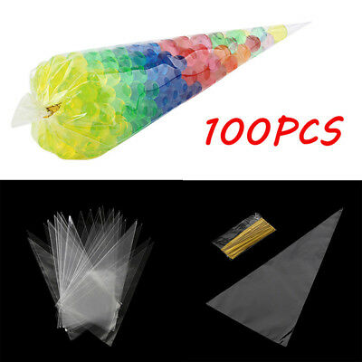 100x Clear Triangle Candy Bag Plastic Food Popcorn Bags Xmas Party Utensil Cute