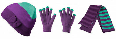 KATHMANDU Girls Renar Set Bow Beanie Gloves Scarf Purple/Violet Turquoise As New
