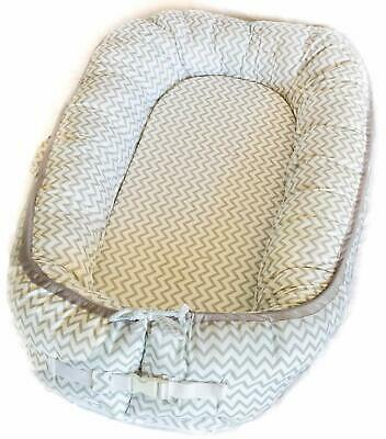 Easy to Move Newborn Baby Nest 100% Cotton and Eco-Friendly (Grey and White)