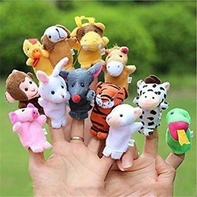 12x Novel Family Finger Puppets Cloth Doll Baby Hand Cartoon Animal Toy Gift Fun