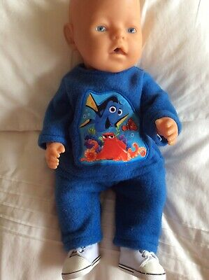 "Doll Clothes to fit 17"" Baby Born Boy doll ~ 2 Piece - Blue / Finding Nemo Motif"