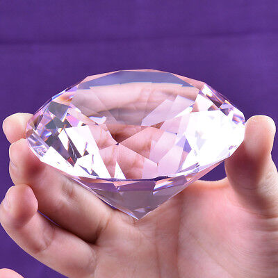 80mm Big Clear Crystal Glass Cut Giant Diamond Jewel Paperweight Wedding Decor