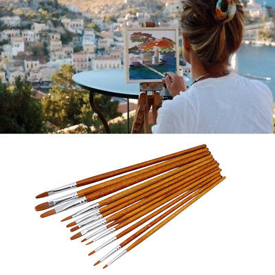 12pcs/Set Artist Watercolor Painting Brushes Brush Oil Acrylic Flat Tip Paint FA