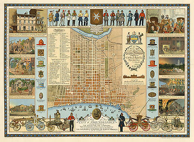 1938 Pictorial Philadelphia Map Fire Department Wall Art Poster Vintage History