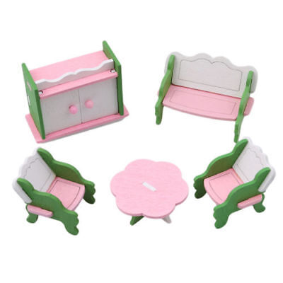 1X Wooden Furniture Set Kid Pretend Play Toy Doll House Miniature Living Room FA