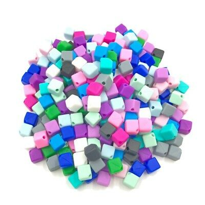 10Pcs Cubes Silicone Teething Beads Chewable Jewelry DIY Baby Necklace Teether