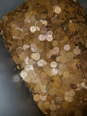 44 pounds of lincoln bronze copper wheat cent pennies from an estate