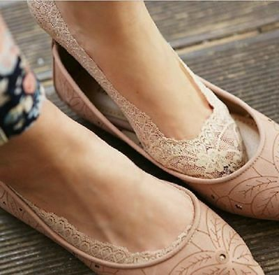 No Show Peds Ballet Slipper Socks Antiskid Invisible Liner Soft Summer Lace FA