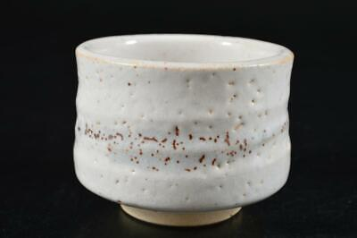 G9796: Japanese Shino-ware White glaze Muffle painting TEA BOWL Green tea tool
