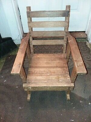 Early 20th Century Antique Oak Childrens Rocking Chair Missions Arts + Crafts