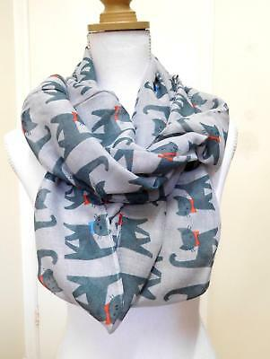 Ladies' Infinity Scarf, Soft Grey With Charcoal Cats - 01059