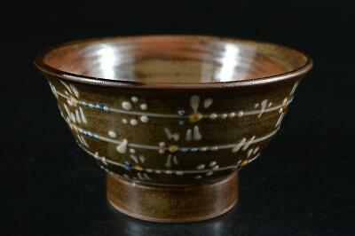 G9758: Japanese Mashiko-ware dragonfly pattern TEA BOWL Green tea tool