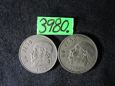 2 x  one peso COINS  Mar3980/1  from MEXICO   26 gms