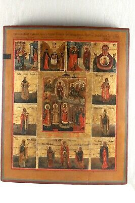 Russian Icon with selected saints. Original Rare 19th century 100% orig
