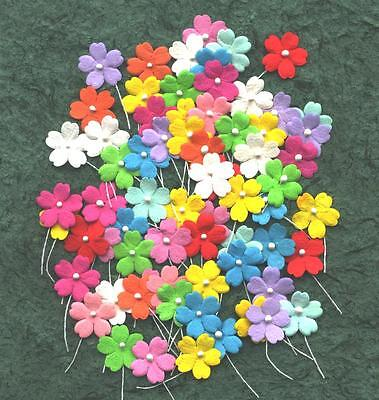 100 Mulberry Paper FLOWERS 18mm MPFF3X Collage Scrapbooking Cards Party Craft
