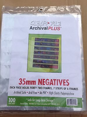 Clear File Negative Storage Pages For 35mm Film.  Qty 50