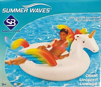 """Summer Waves 7ft 2"""" (220cm) Inflatable Giant Unicorn Lounge for Swimming Pools"""