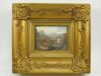 Antique early 19th century reverse painting on glass landscape with waterfall