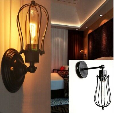 Vintage Industrial Black Metal Wall Lamp Sconce Light Fixture Edison Flute Wall