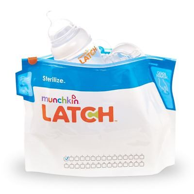 Munchkin LATCH 6 PACK STERILISER BAGS Baby/Toddler Bottle Steriliser -BN