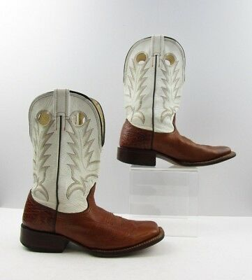 724b6d1b086c2 Men s Larry Mahan Brown Bull Hide Leather Square Toe Western Boots Size   7.5 D
