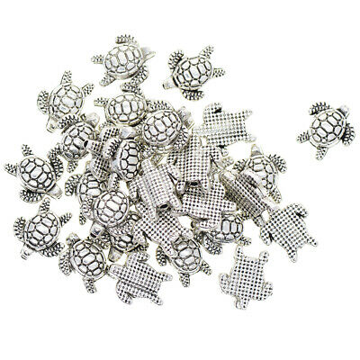 100PCS Small Antique Silver Animal Turtle Charm Beads Spacer Beads Jewelry