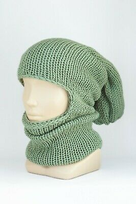 Knitted BALACLAVA Hat green warm Winter face mask Hippie Hood Ski Knit beanie