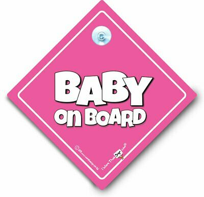 Baby On Board Sign, Baby Girl On Board, Powder Pink Suction Cup Car Sign